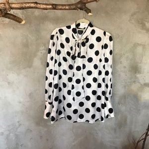 Tops - Zara Polkadot blouse with a Tie